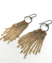 Load image into Gallery viewer, Ombré Brass small tassel earrings