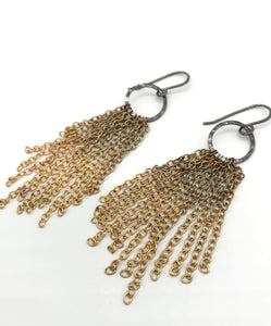 Ombré Brass small tassel earrings