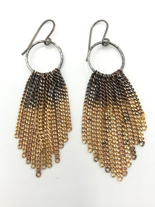 Brass ombré tassel earrings