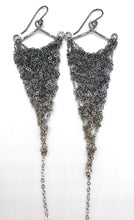 Load image into Gallery viewer, Medium silver ombré triangle earrings