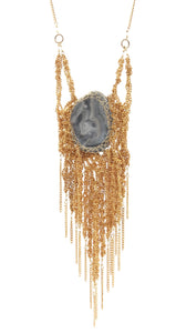 Gold plated brass chalcedony fringe necklace