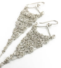 Load image into Gallery viewer, Small silver triangle earrings