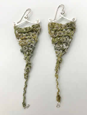 Guinevere earrings- Silver Moss