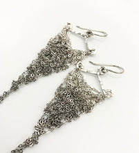 Load image into Gallery viewer, Small silver ombre triangle earrings