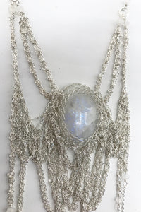 Moonstone silver fairy necklace