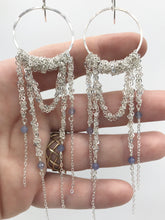 Load image into Gallery viewer, XL silver draped hoops with tanzanite