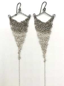 Large silver ombre triangle earrings