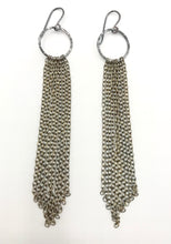 Load image into Gallery viewer, Brass oxidized tassel earrings
