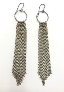 Brass oxidized tassel earrings