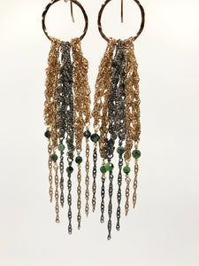 Large gold and oxidized silver fringe earrings