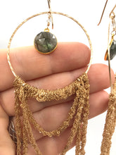 Load image into Gallery viewer, XXL gold labradorite hoop earrings