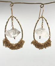 Load image into Gallery viewer, Large gold quartz teardrops