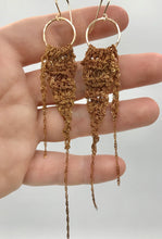 Load image into Gallery viewer, Medium brass drop earrings with tail