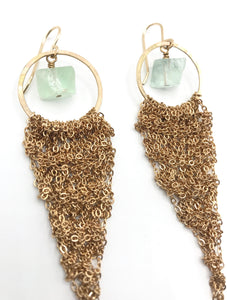 Large gold drop earrings with fluorite