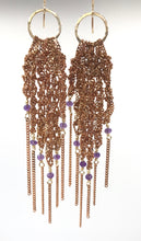 Load image into Gallery viewer, Small amethyst fringe hoops