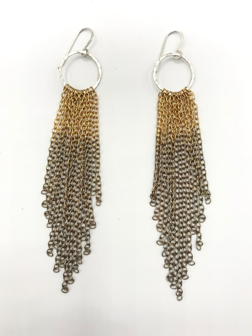 Brass and silver ombre tassel earrings