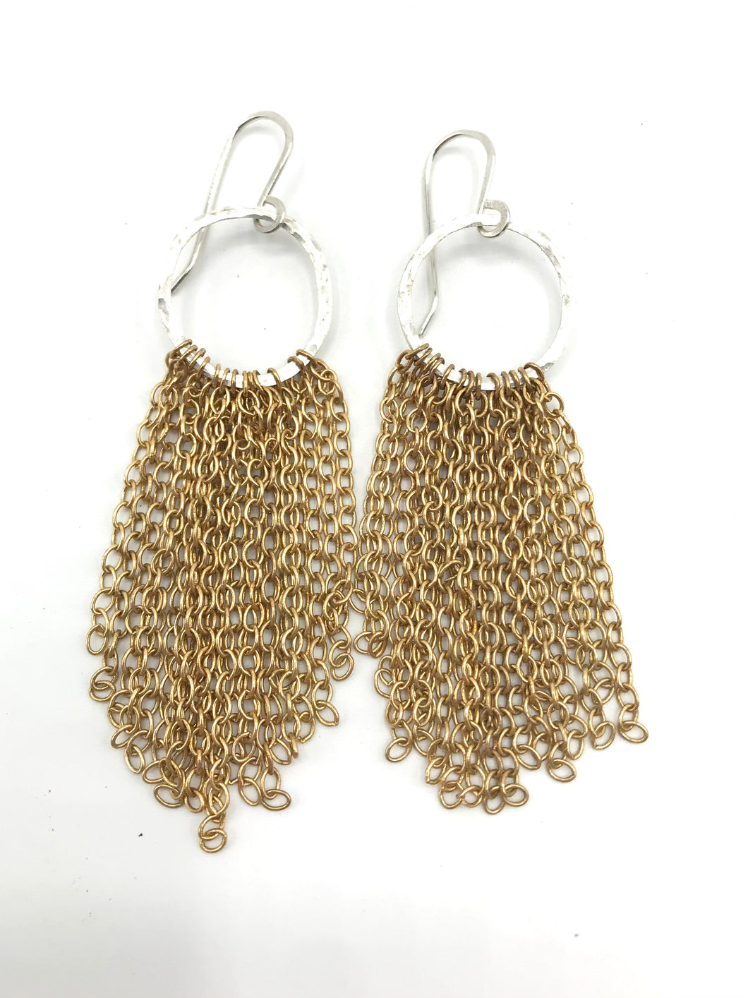 Brass and silver tassel earrings