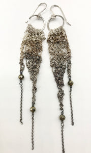 Small silver ombré drop earrings with pyrite