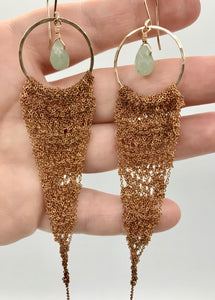 XL gold drop earrings with vintage brass crocheted chain and aventurine