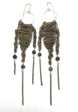 Silver and brass fringe earrings