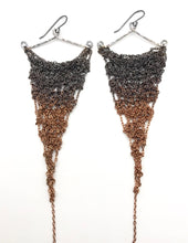 Load image into Gallery viewer, XL silver and copper ombré earrings
