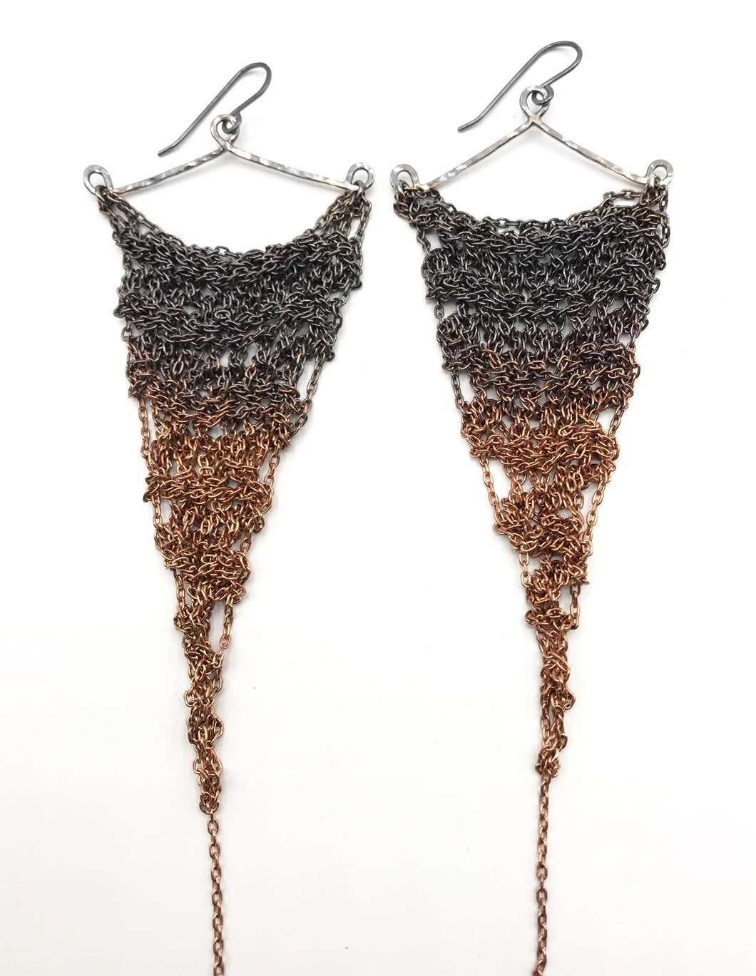 XL silver and copper ombré earrings