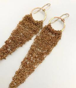 Medium brass drop earrings