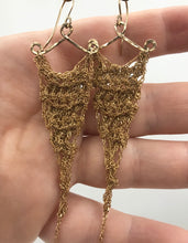 Load image into Gallery viewer, Small gold triangle earrings