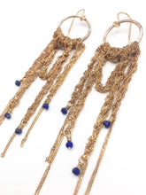 Load image into Gallery viewer, Gold draped brass hoops w/lapis (S)