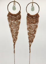 Load image into Gallery viewer, XL gold drop earrings with vintage brass crocheted chain and aventurine