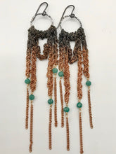 Load image into Gallery viewer, Medium oxidized silver and copper ombré drape earrings with amazonite