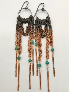 Medium oxidized silver and copper ombré drape earrings with amazonite