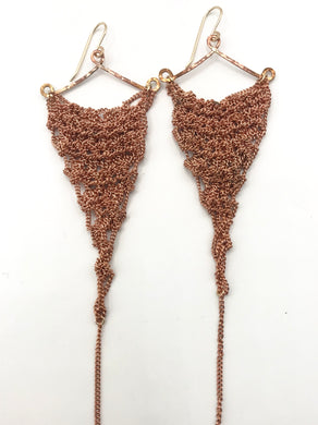 Medium copper triangle earrings