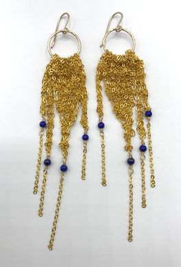 Medium bright gold fringe hoops with lapis