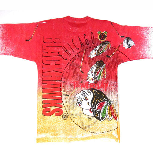 Vintage 1991 chicago blackhawks all over print t shirt for Vintage blackhawks t shirt