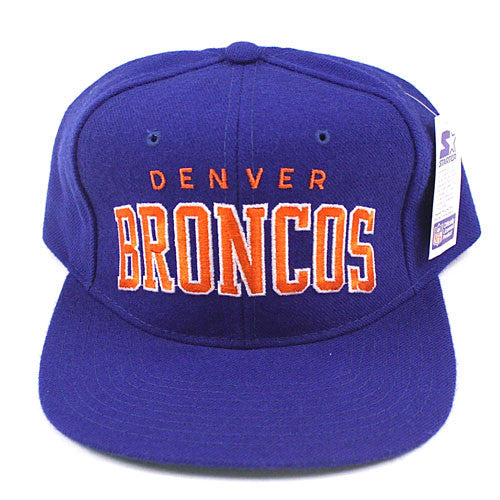 64d794b2079 Vintage Snapback Snap Back Hat Denver Broncos Starter Arch Block Curve 90 s  Wool New With Tags NWT NFL Football – For All To Envy
