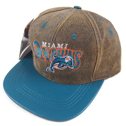 Vintage Miami Dolphins Leather Snapback Hat