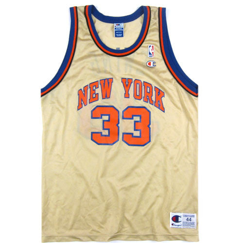 07615877182 Vintage Patrick Ewing NY Knicks Gold Champion Jersey New York 90s NBA  Basketball – For All To Envy