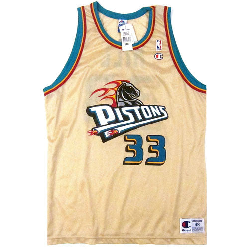 official photos cf605 b89c5 Vintage Grant Hill Detroit Pistons Gold Champion Jersey