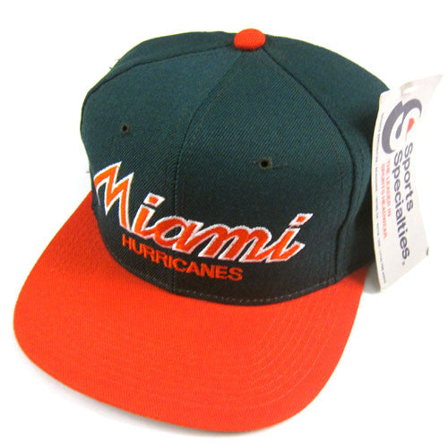 Vintage Miami Hurricanes Sports Specialties Snapback Hat NWT
