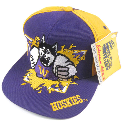 Vintage Washington Huskies Mascot Snapback Hat NWT