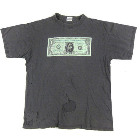Vintage Kurt Cobain Nirvana Dollar Bill T-Shirt