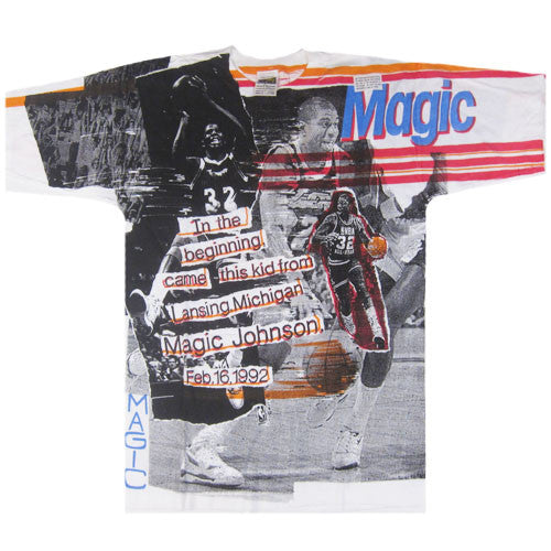 Vintage Magic Johnson 1992 All Over Print T-shirt NWT