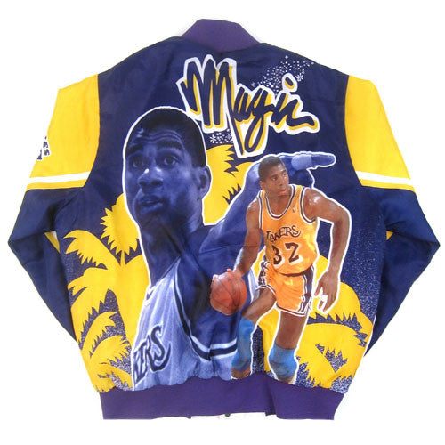 Vintage Magic Johnson LA Lakers Chalk Line Jacket