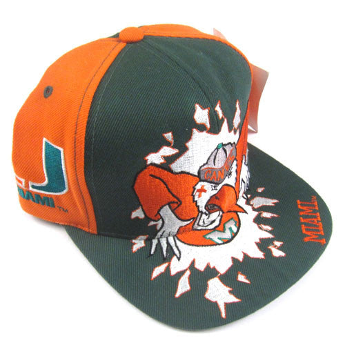 newest ee718 4a06f Vintage Miami Hurricanes Mascot Snapback Hat NWT 90s NCAA Football Canes –  For All To Envy