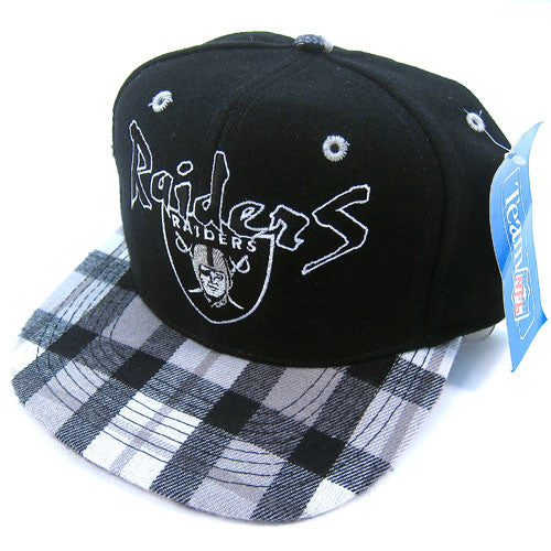 Vintage LA Raiders Plaid Brim Snapback Hat NWT