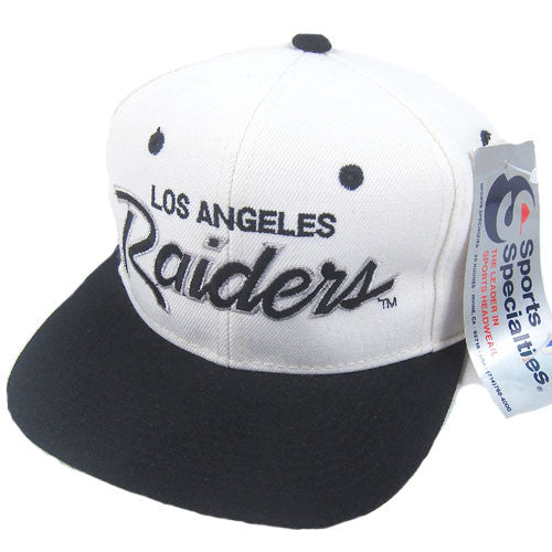 eeb9582c2c8fa6 Vintage LA Raiders Sports Specialties Script Snapback NWT NFL Football Bo NWA  Eazy E Dr Dre Ice Cube – For All To Envy