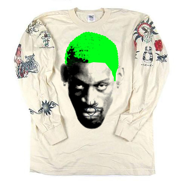 Vintage Dennis Rodman Tattoo Long Sleeve T-shirt *GREEN HAIR*