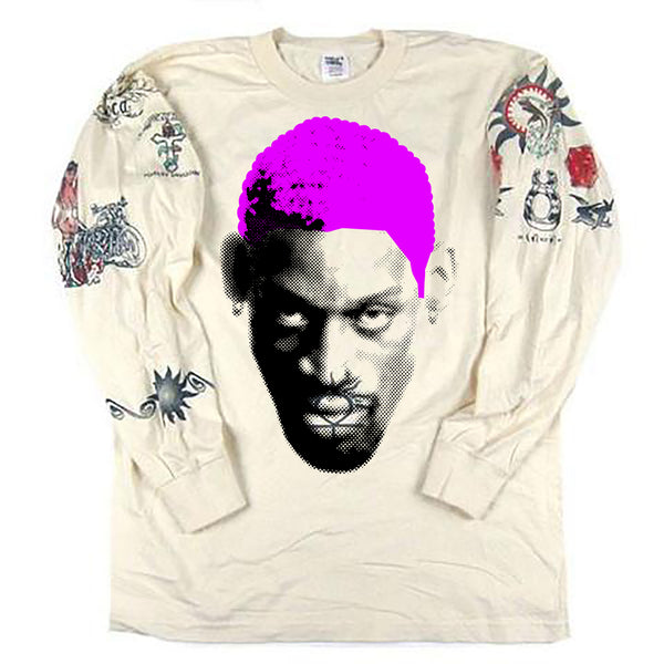 Vintage Dennis Rodman Tattoo Long Sleeve T-shirt *PINK HAIR*