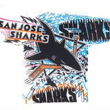Vintage 1991 San Jose Sharks All Over Print T-Shirt